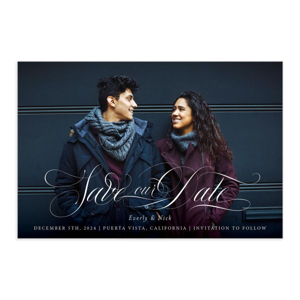 Exquisite Calligraphy Save The Date Postcards