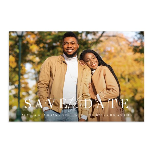 Romantic Calligraphy Save the Date Postcard front