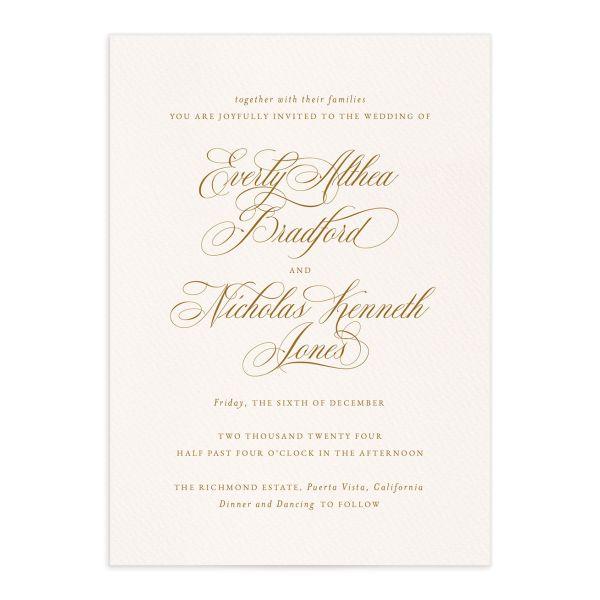 Exquisite Calligraphy Wedding Invitations
