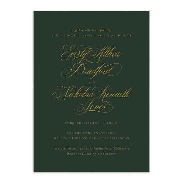 Exquisite Calligraphy Wedding Invitation front closeup in green