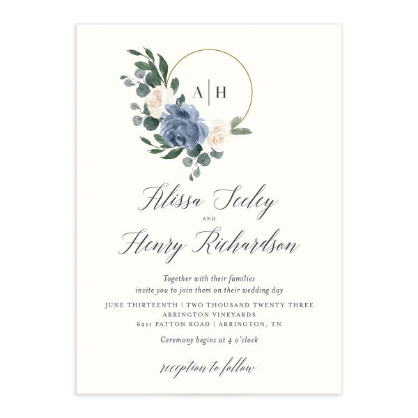 Floral Hoop Wedding Invitation front closeup in blue