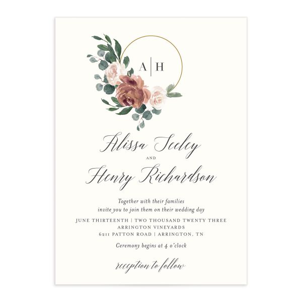 Floral Hoop Wedding Invitation front closeup in pink
