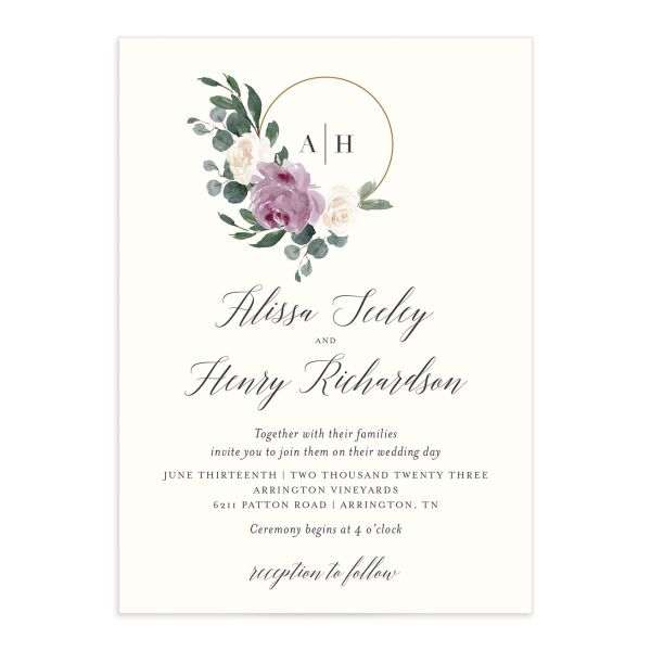 Floral Hoop Wedding Invitation front closeup in purple