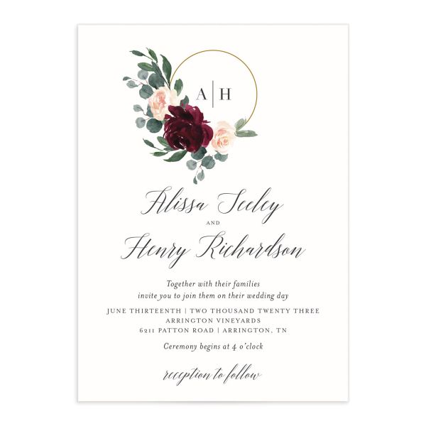 Floral Hoop Wedding Invitation front closeup in red