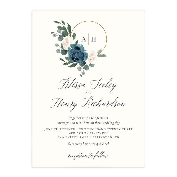 Floral Hoop Wedding Invitation front closeup in teal