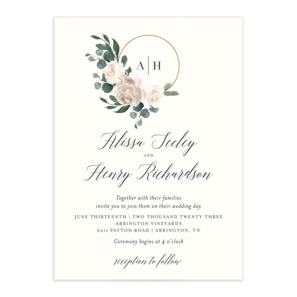 Floral Hoop Wedding Invitation front closeup in white