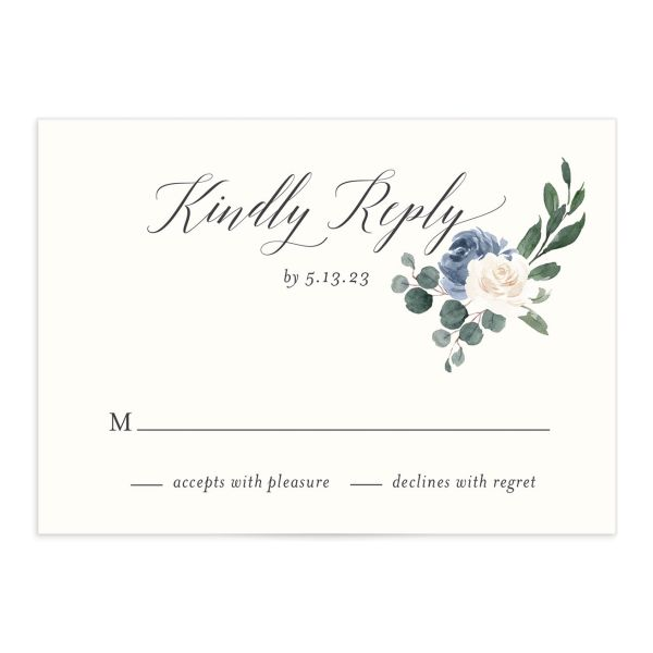 Floral Hoop Response Card front closeup in blue