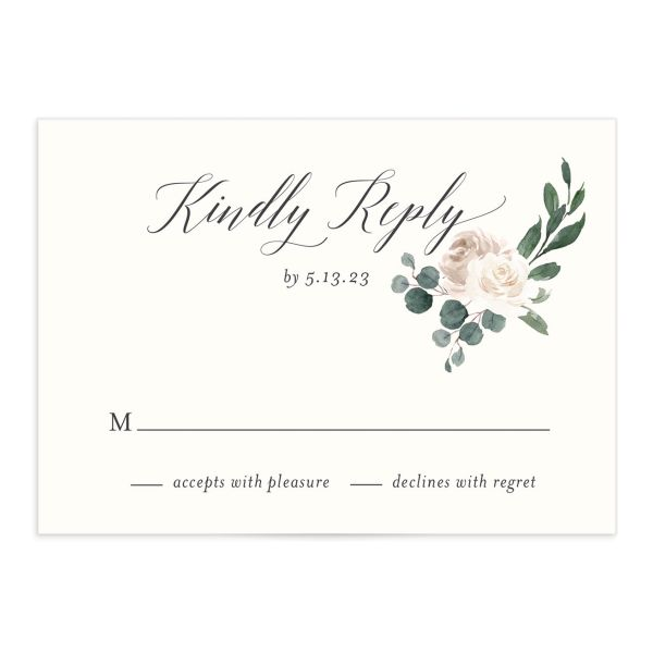 Floral Hoop Response Card closeup front in white