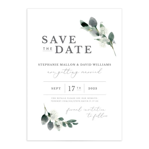 Elegant Greenery Save The Date Cards