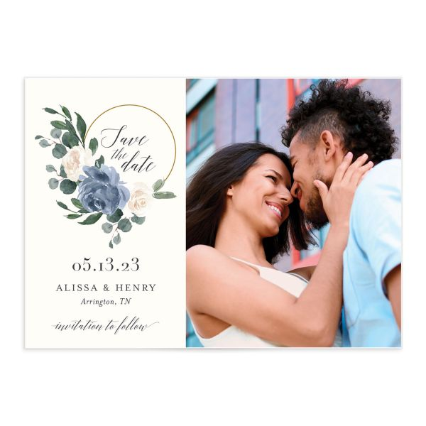 Floral Hoop Save the Date front closeup in blue