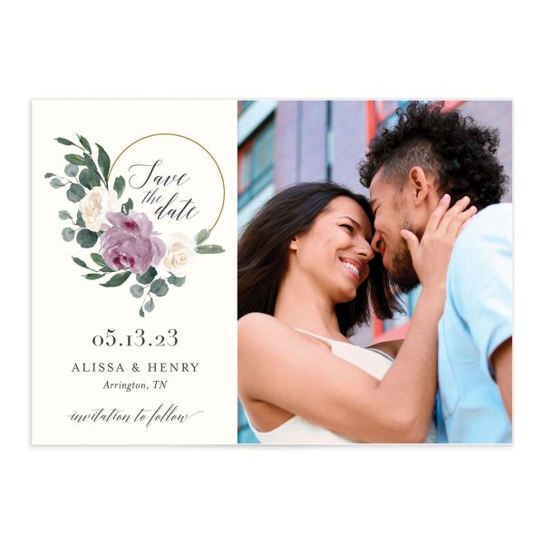 Floral Hoop Save the Date front closeup in purple