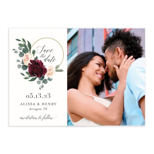 Floral Hoop Save the Date front closeup in red