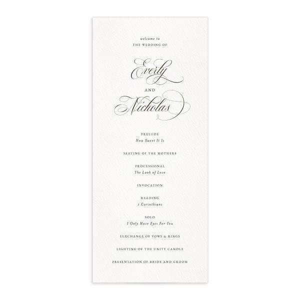 Exquisite Calligraphy Wedding Programs