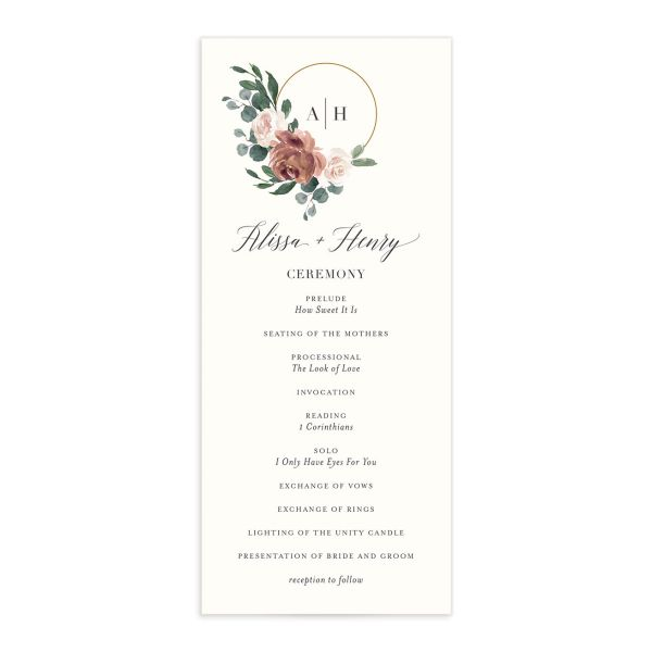 Floral Hoop Wedding Program front in pink