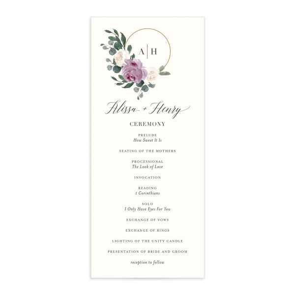 Floral Hoop Wedding Program front in purple