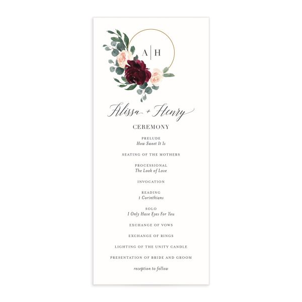 Floral Hoop Wedding Program front in red