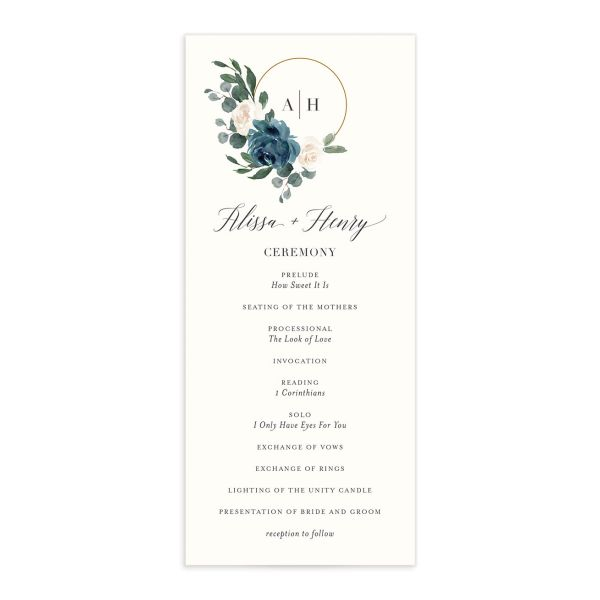 Floral Hoop Wedding Program front in teal