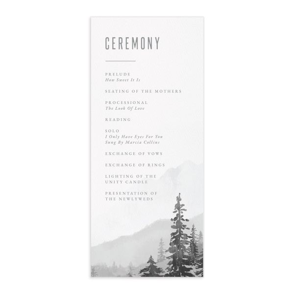 Painted Mountains Wedding Program front in grey