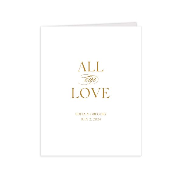 Classically Elegant folded Thank You Card in gold