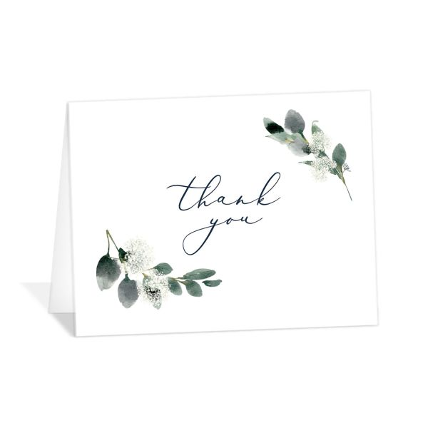 Elegant Greenery folded Thank You Card front in blue