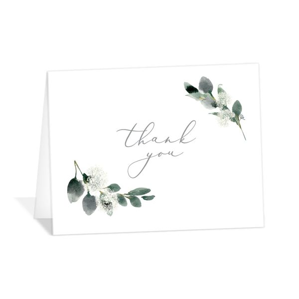 Elegant Greenery folded Thank You Card front in white