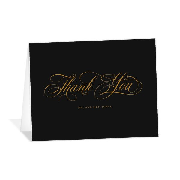 Exquisite Calligraphy Thank You Card front in black