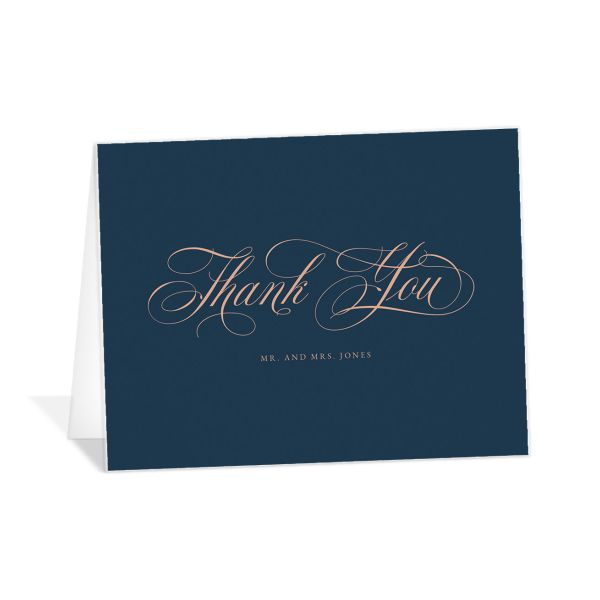 Exquisite Calligraphy Thank You Card front in blue