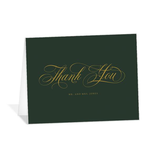 Exquisite Calligraphy Thank You Card front in green