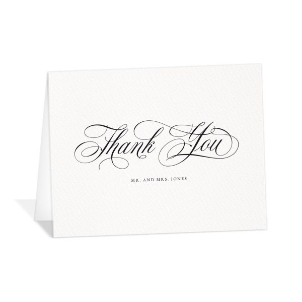 Exquisite Calligraphy Thank You Card front in white