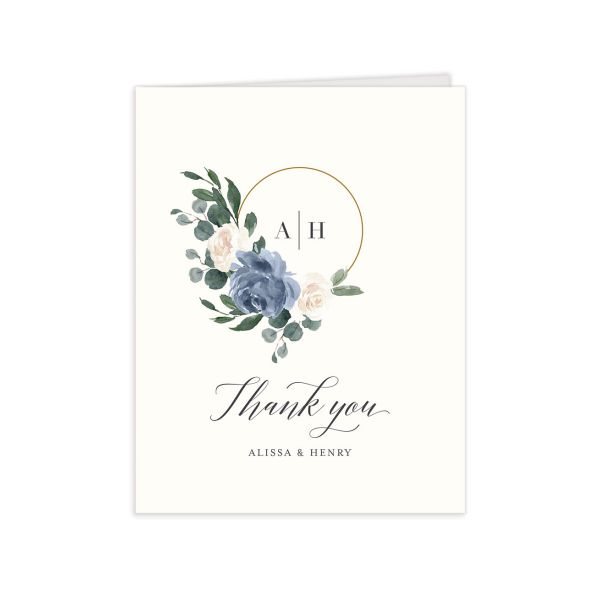 Floral Hoop Thank You Card front in blue