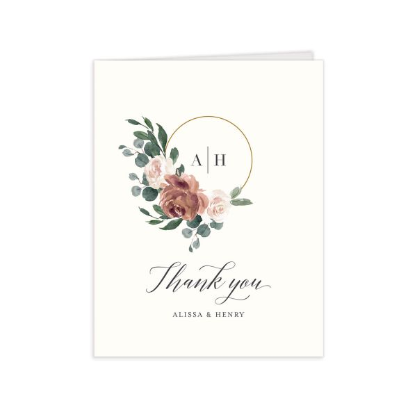 Floral Hoop Thank You Card front in pink