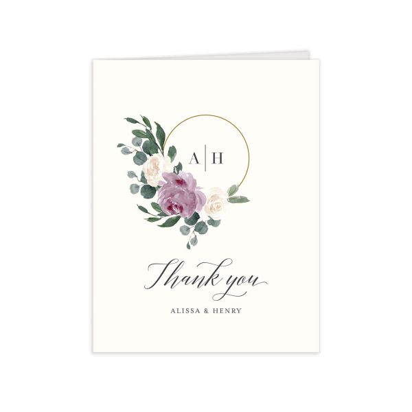 Floral Hoop Thank You Card front in purple