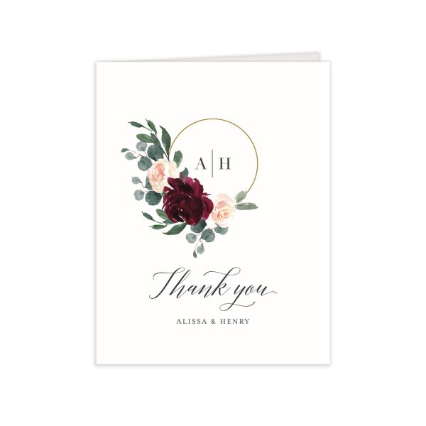 Floral Hoop Thank You Card front in red