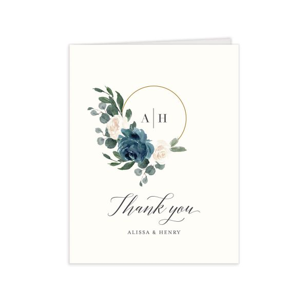 Floral Hoop Thank You Card front in teal