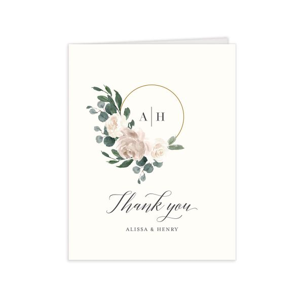 Floral Hoop Thank You Card front in white