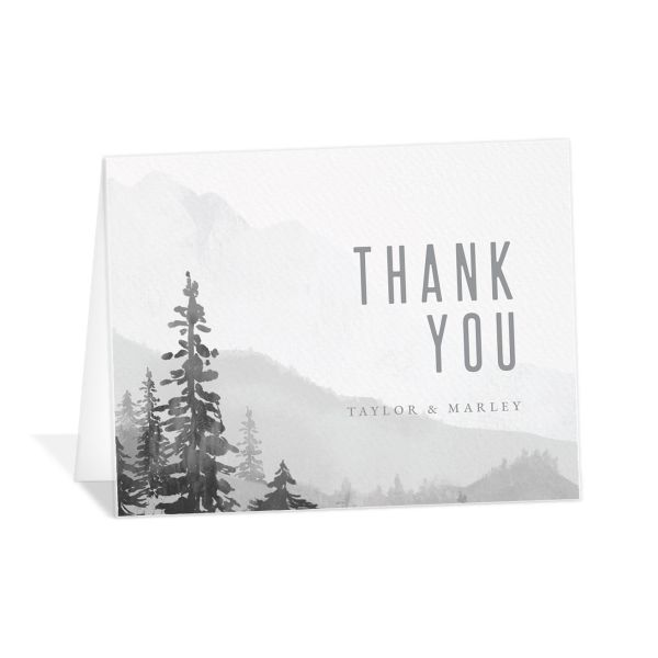Painted Mountains Thank You Card in grey