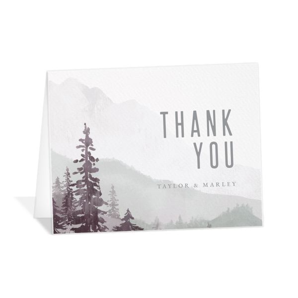 Painted Mountains Thank You Card in purple