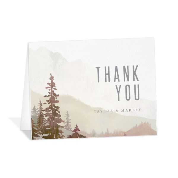 Painted Mountains Thank You Card in red