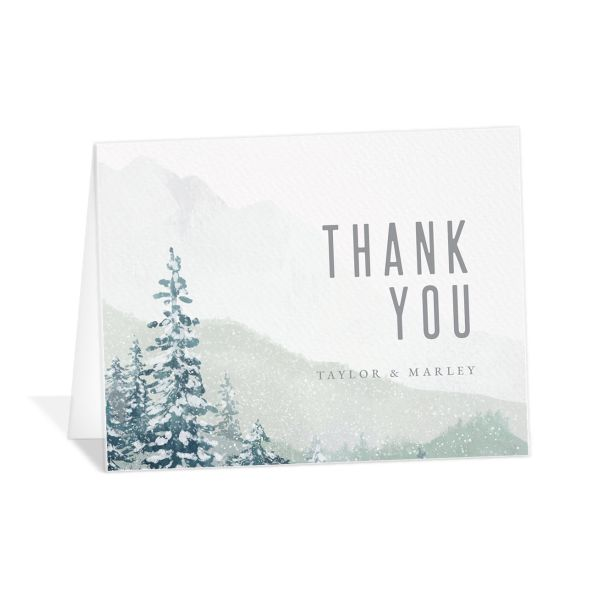 Painted Mountains Thank You Card in teal