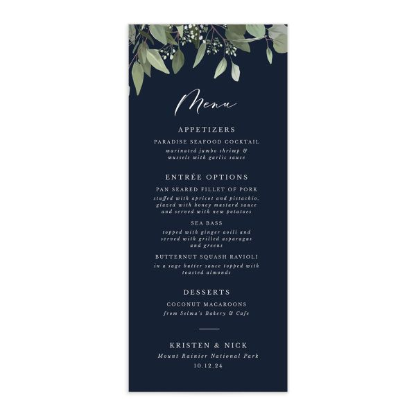 Eucalyptus Frame Menu Card front in navy