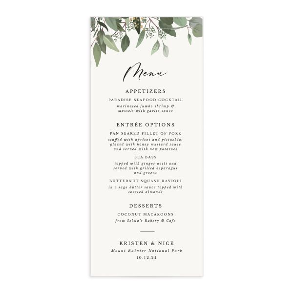 Eucalyptus Frame Menu Card front in white