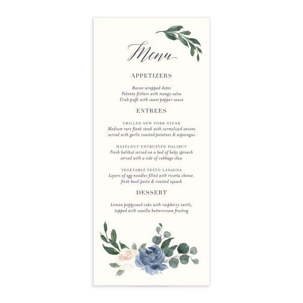 Floral Hoop Menu front in blue
