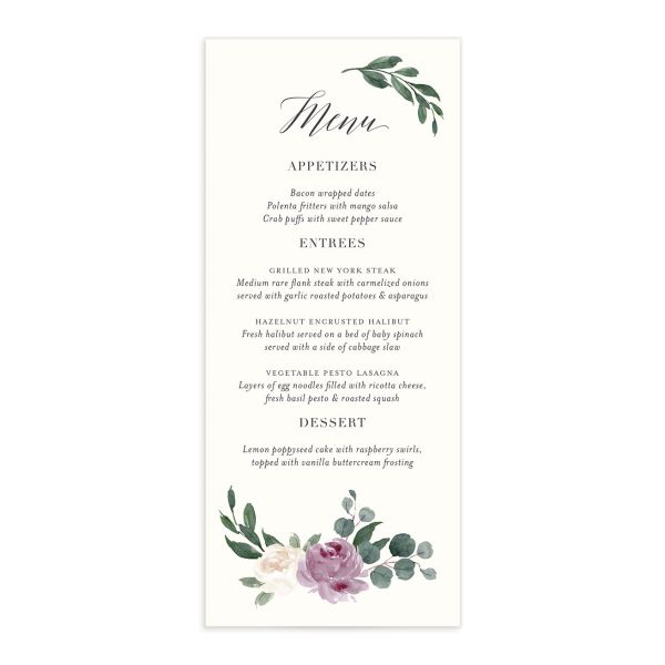 Floral Hoop Menu front in purple