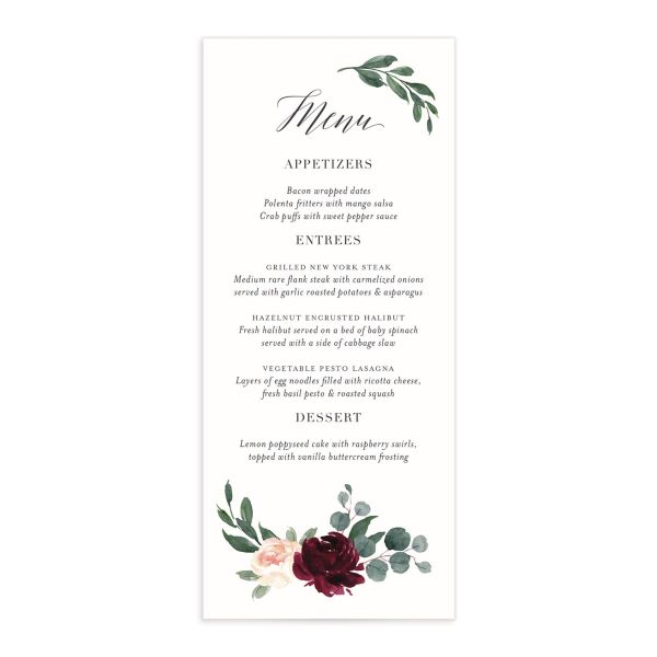 Floral Hoop Menu front in red