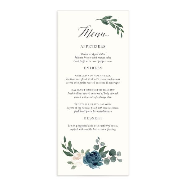 Floral Hoop Menu front in teal