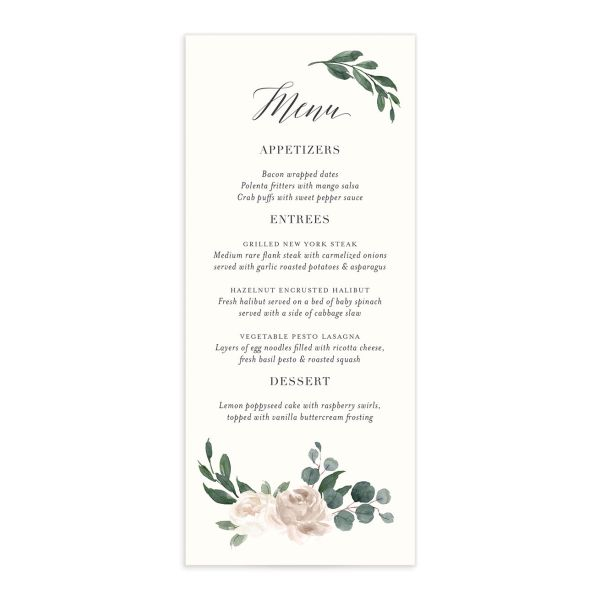 Floral Hoop Menu front in white