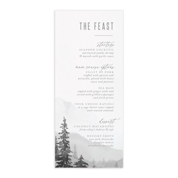 Painted Mountains Menu front in grey
