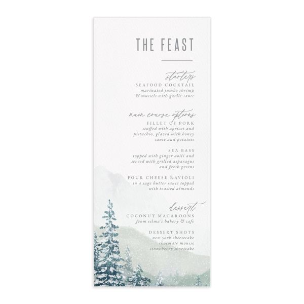 Painted Mountains Menu front in teal