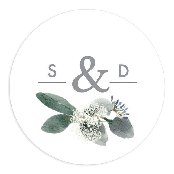 Elegant Greenery Wedding Stickers