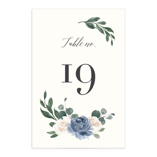 Floral Hoop Table Number front in blue